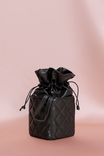 Black Faux Leather Quilted Pouch Cross Body Bag