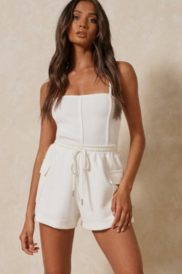 Cream Ribbed Seam Detail Strappy Thong Bodysuit