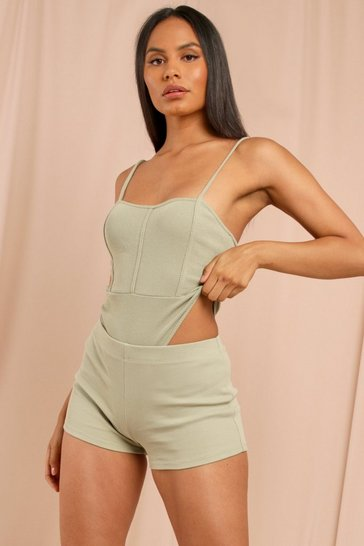 Olive Ribbed Seam Detail Strappy Thong Bodysuit