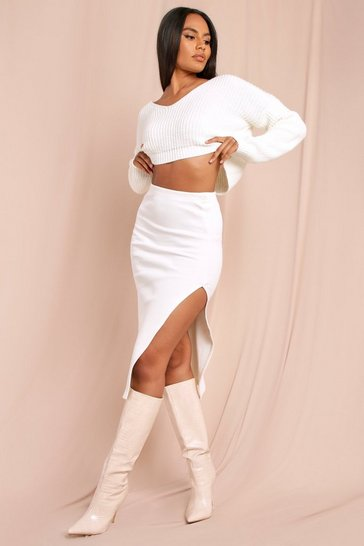 Cream Ribbed Split Leg Midi Skirt