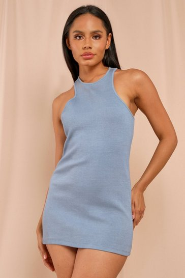Blue Ribbed Racer Neck Mini Dress