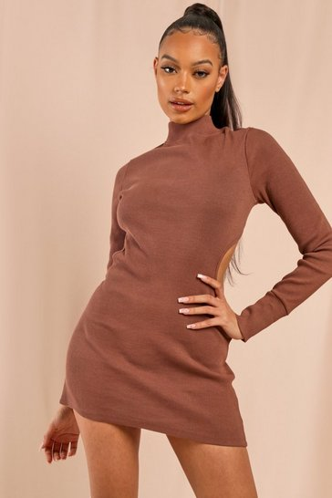 Chocolate Ribbed Cut Out Open Back Mini Dress
