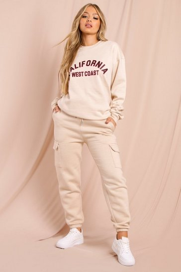 Sand Oversized California Slogan Sweatshirt