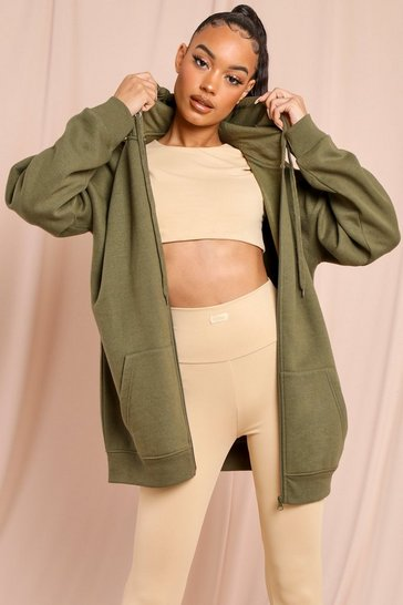 Khaki Basic Oversized Zip Through Hoodie