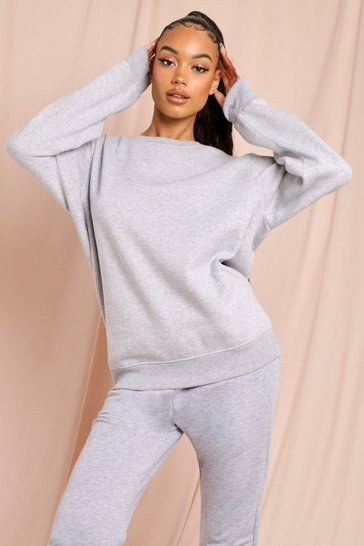 Grey marl Basic Cuffed Oversized Sweatshirt