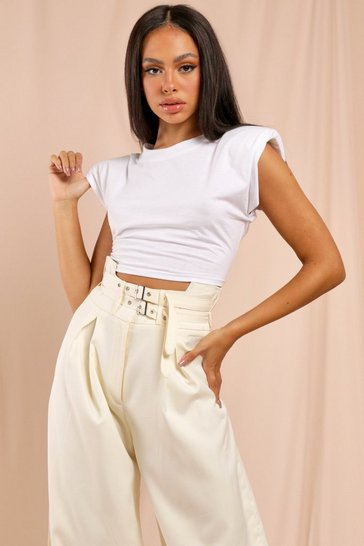 White Padded Shoulder Crop T-Shirt