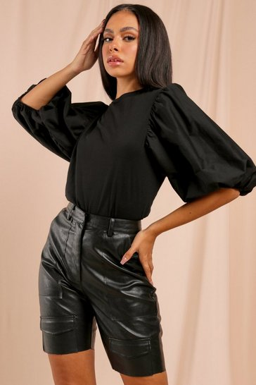 Black Statement Sleeve Jersey & Poplin Mix Top