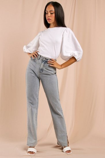White Statement Sleeve Jersey & Poplin Mix Top