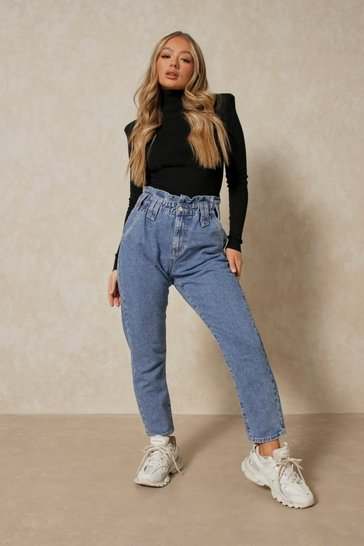 Blue Paperbag Elasticated Mom Jeans