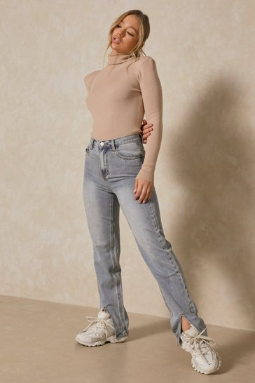 Blue Split Front Straight Leg Jeans
