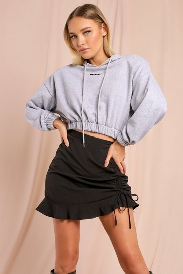 Nude Ruched Frill Mini Skirt