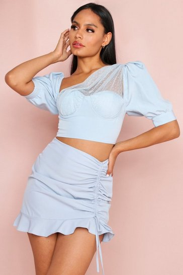 Blue Ruched Frill Mini Skirt