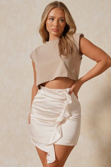 Ivory Satin Side Ruched Mini Skirt