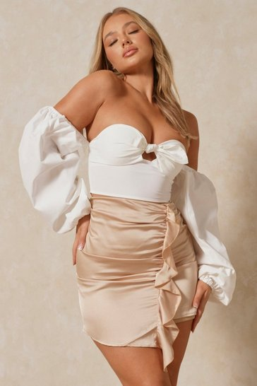 Nude Satin Side Ruched Mini Skirt