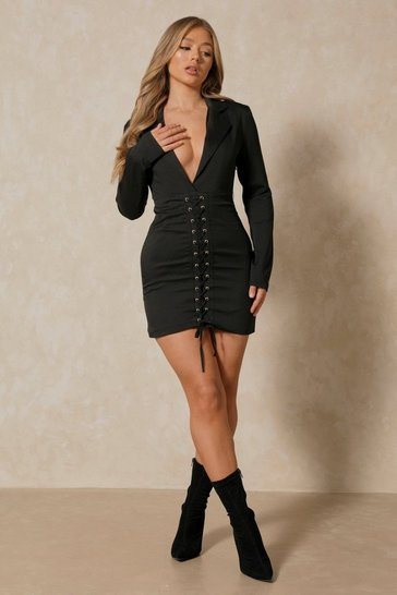 Black Plunge Front Corset Detail Blazer Dress