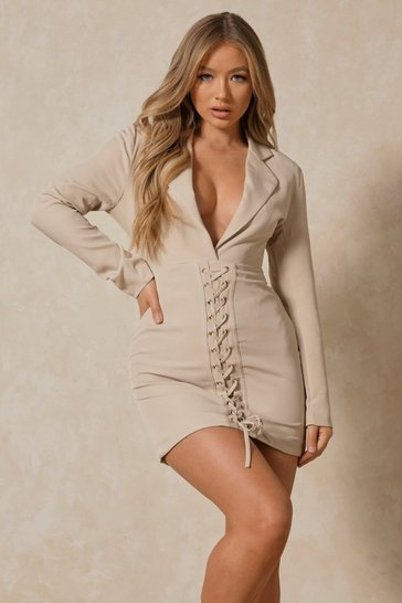 Stone Plunge Front Corset Detail Blazer Dress