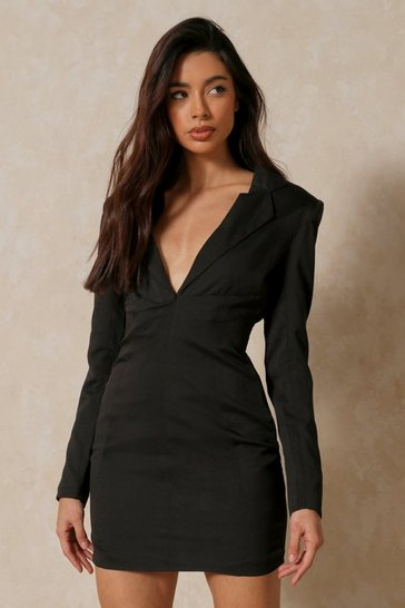 Black Contour Panel Detail Blazer Dress