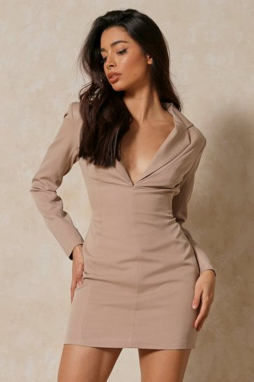 Mocha Contour Panel Detail Blazer Dress