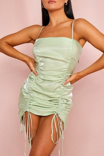 Sage Satin Ruched Cami Dress