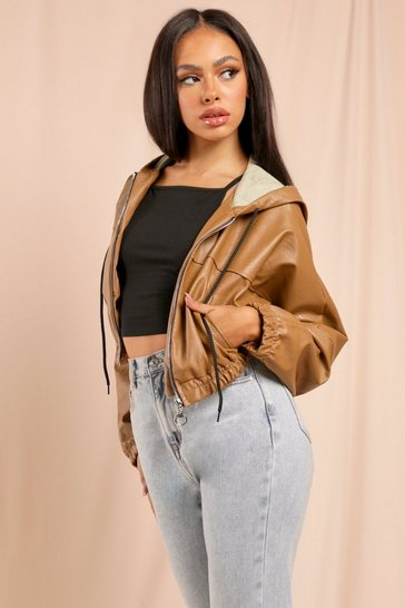 Camel Oversized Crop Leather Look Bomber Jackets