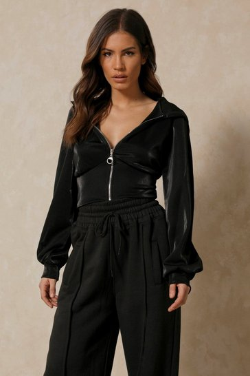 Black Corset Waist Textured Zip Hoody
