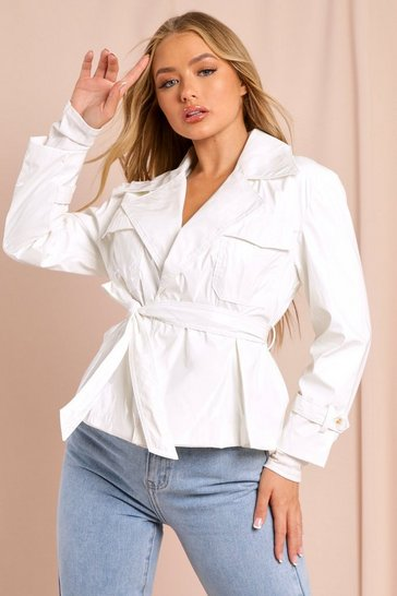 White Vinyl Belted Jacket