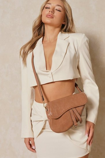 Camel Faux Leather Saddle Bag