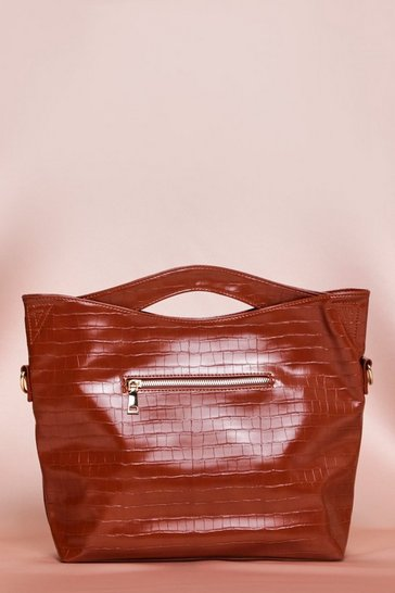 Brown Faux Leather Grab Top Day Bag