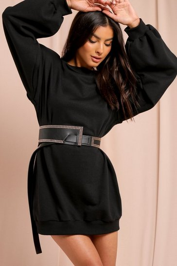 Black Leather Look Studded Large Waist Belt