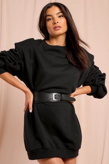 Black Leather Look Square Buckle Waist Belt