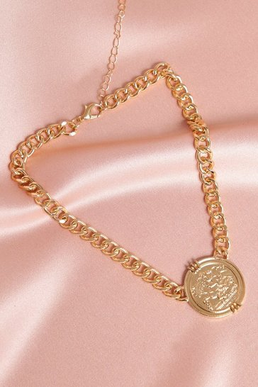 Gold Statement Coin Coin Chunky Chain Choker