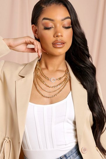 Gold Layered Multi Chain Necklace
