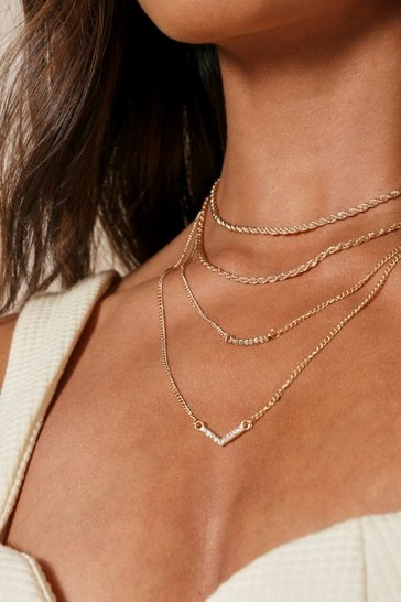 Gold Diamante and Twist Chain Layered Necklace