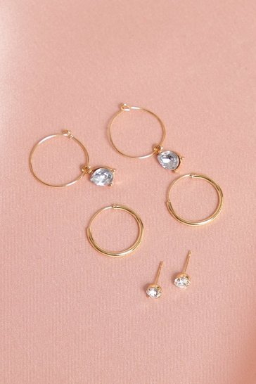 Gold Diamante Stud & Hoop Earrings 3 Pack