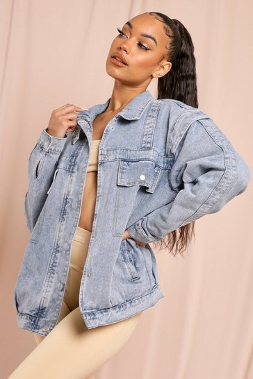 Mid wash Oversized Light Wash Drop Sleeve Denim Jacket