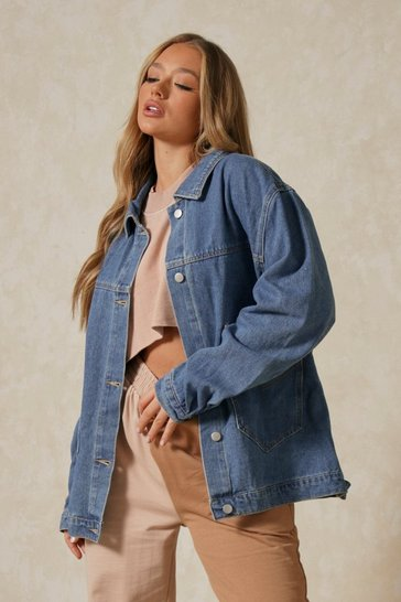Mid blue Denim Oversized Pocket Jacket