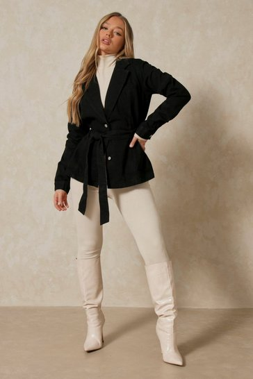 Washed black Denim Belted Blazer Jacket