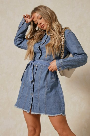 Mid blue Fray Hem Belted Denim Dress