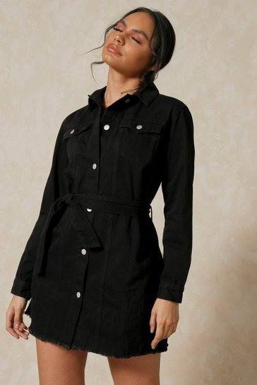 Washed black Fray Hem Belted Denim Dress