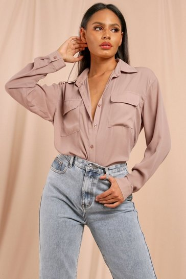 Mink Oversized Double Pocket Detail Shirt