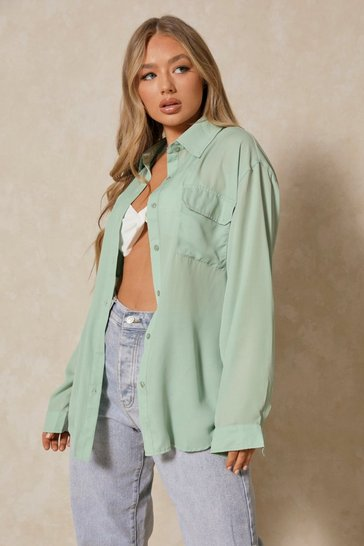 Sage Oversized Double Pocket Detail Shirt