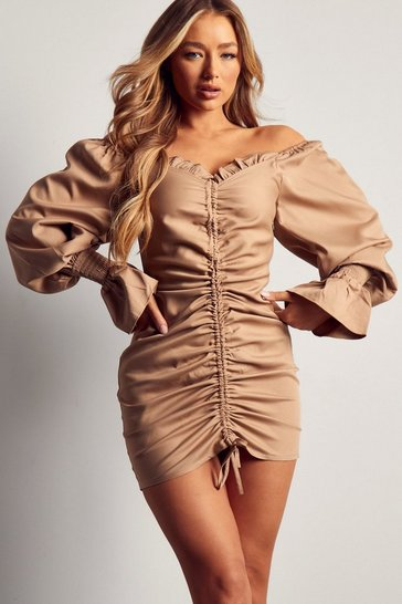 Olive Off The Shoulder Puff Sleeve Ruched Mini Dress
