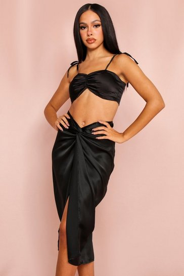 Black Satin Draped Midi Skirt