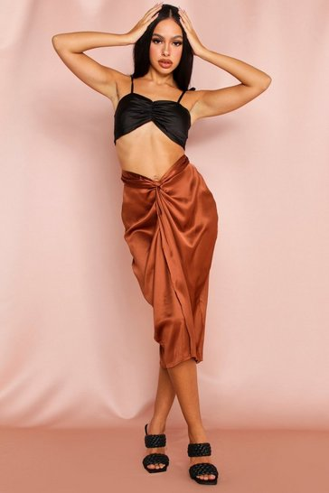 Chocolate Satin Draped Midi Skirt