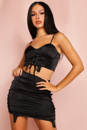 Black Satin Corset Harness Detail Crop Top