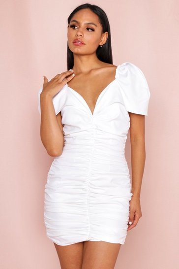 White Puff Sleeve Ruched Mini Dress