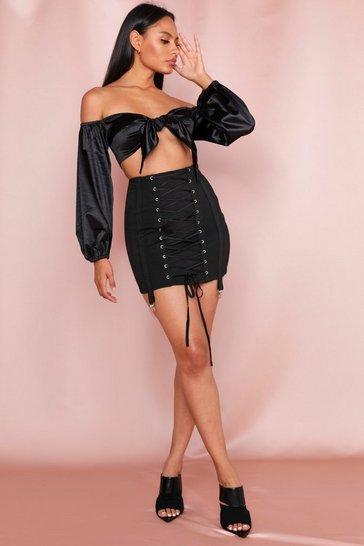 Black Lace Up Bandage Harness Detail Mini Skirt