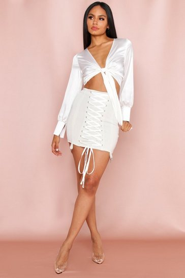 Ivory Lace Up Bandage Harness Detail Mini Skirt