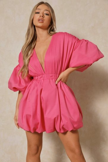 Pink Plunge Front Extreme Puff Sleeve Mini Dress