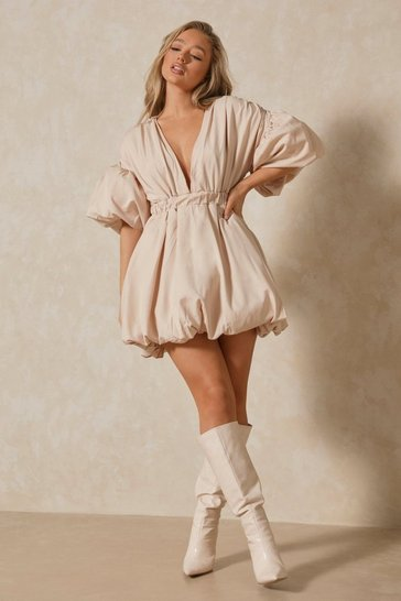 Stone Plunge Front Extreme Puff Sleeve Mini Dress